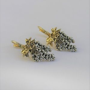 Antique Gold & Silver-Tone Grape Cluster Earring